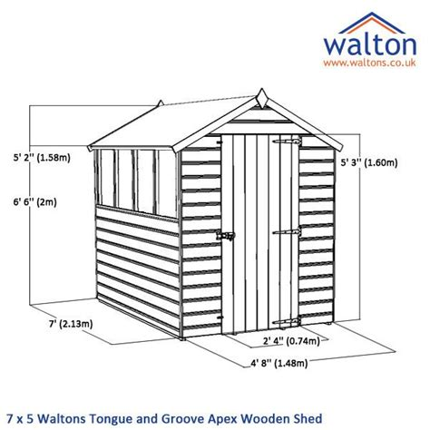 Tongue And Groove Roof Decking Dimensions by 7 X 5 Waltons Windowless Tongue And Groove Apex Wooden Shed