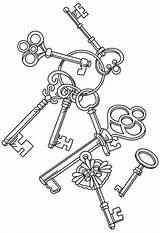 Key Coloring Pages Steampunk Embroidery Keys Heart Adult Skeleton Designs Patterns Drawing Urbanthreads Unique Urban Colouring Cascade Tattoo Machine Printable sketch template