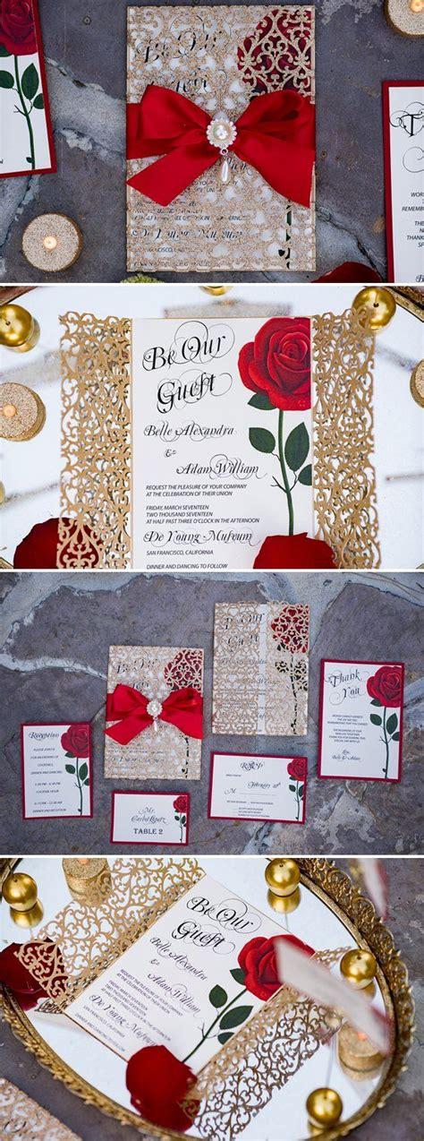 beauty   beast wedding invitations disney