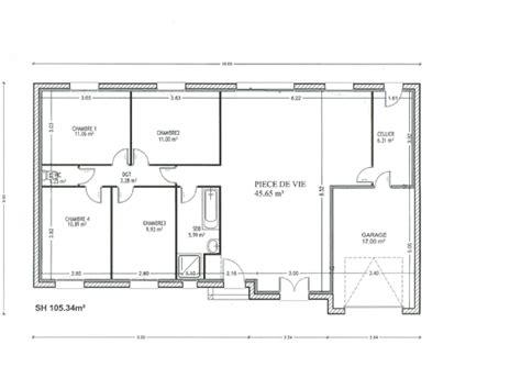 plan de maison 120m2 4 chambres plan maison rectangulaire ventana