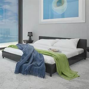 Lit En 180 : acheter lit en cuir artificiel noir 180 x 200 cm pas cher ~ Teatrodelosmanantiales.com Idées de Décoration
