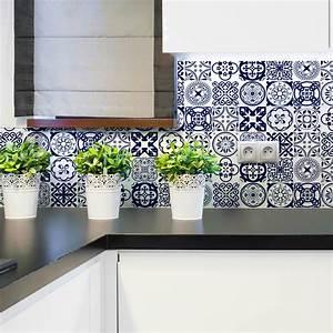Art Et Carrelage : 16 stickers carrelages azulejos ornements florales bleu ~ Melissatoandfro.com Idées de Décoration