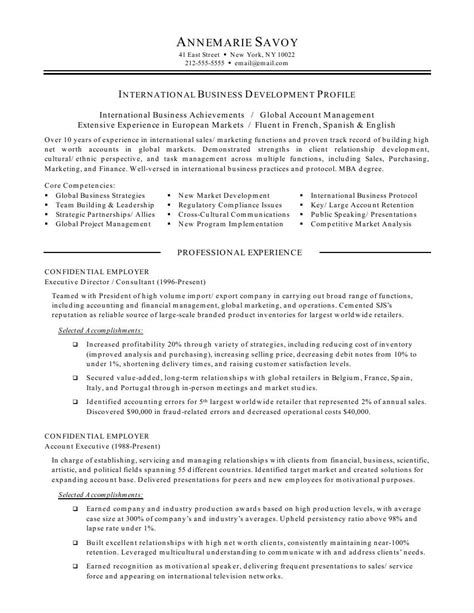 Business Resume Exles by International Business Resume Objective International Business