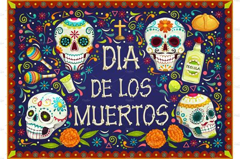 mexican holiday  de los muertos illustrations