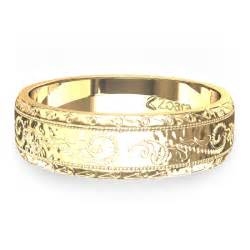 mens wedding bands engraved engraved wedding band in 14k yellow gold