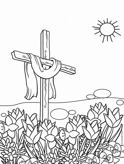 Coloring Cross Easter Pages Printable Catholic Cool