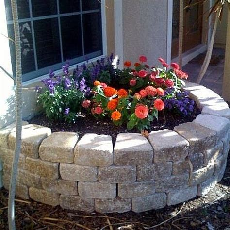 build  retaining wall flower bed stone flower