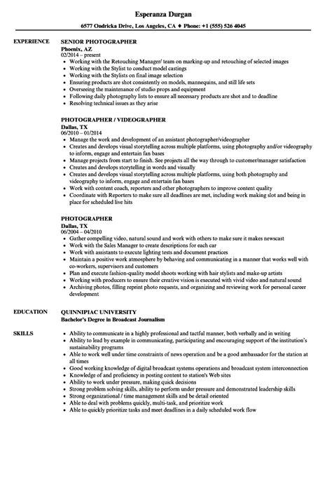 Photographer Resume by Photographer Resume Sles Velvet