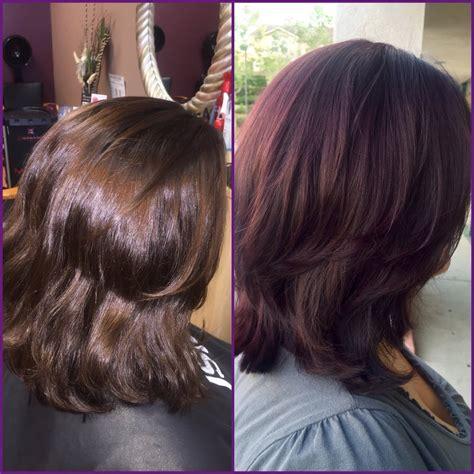 mahogany violet hair color from medium brown box color to violet mahogany with