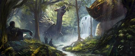 Waterfalls Wallpaper With Animals - images dinosaurs waterfalls rivers animals