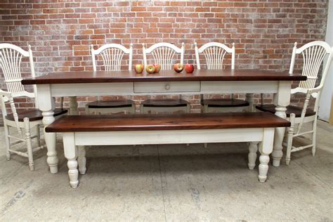 farmhouse dining table  matching bench lake