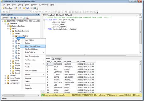 sql list all tables sql server select top 1000 rows in mysql workbench and