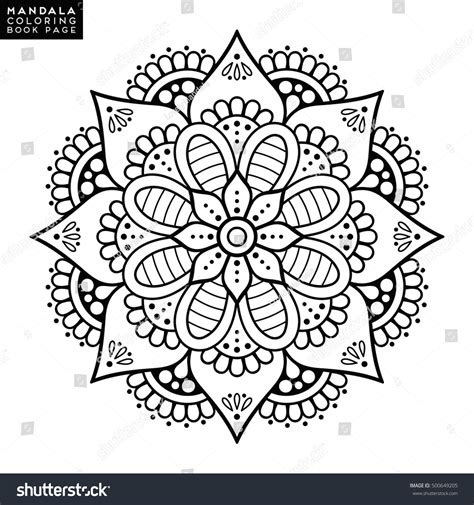 Coloring Vector by Flower Mandala Vintage Decorative Elements Stock