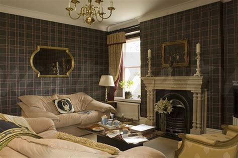 image dark tartan wallpaper  country living room