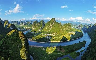 China Mountains Yangshuo Summer 4k Guilin Landscape