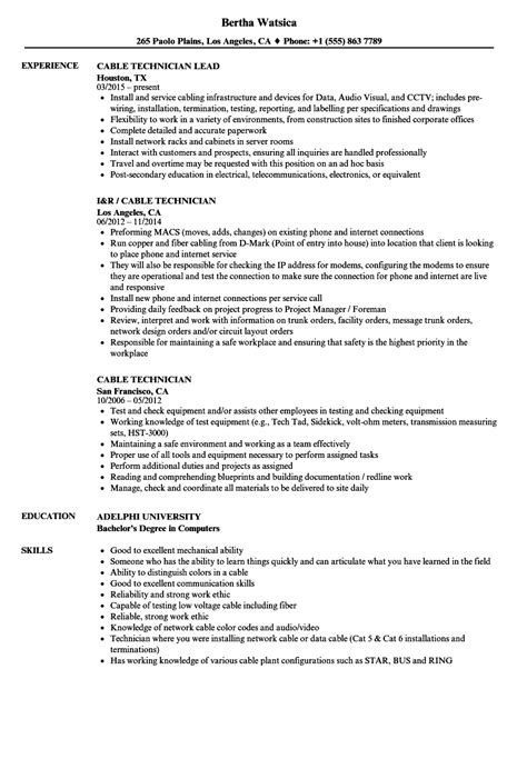 cable technician resume resume ideas