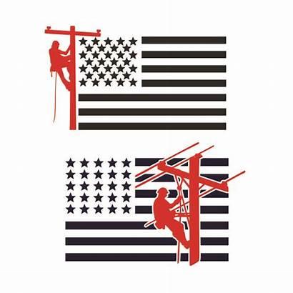 Lineman Flag Cuttable Svg Usa Designs Apexembdesigns