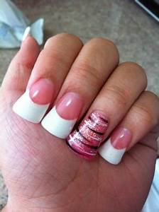 Pink and glittery white powder nails. Pink glitter powder ...