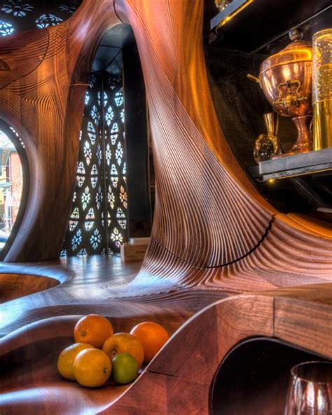 red wood bar design  spanish art nouveau style