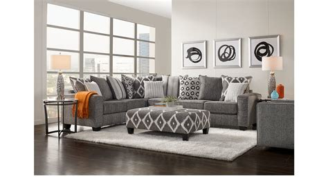 carole court gray  pc sectional living room