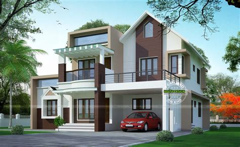 Modern House Front View Double Floor