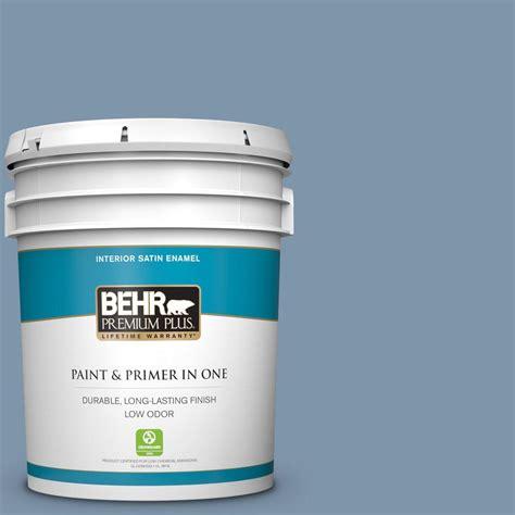 behr premium plus 5 gal 560f 5 bleached denim satin enamel low odor interior paint and primer