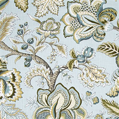 jacobean swag mineral blue floral drapery fabric by robert