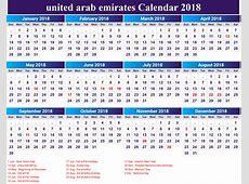 2018 Calendar Uae year printable calendar