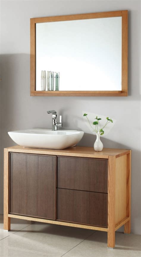 single sink bath vanity  red oak  walnut