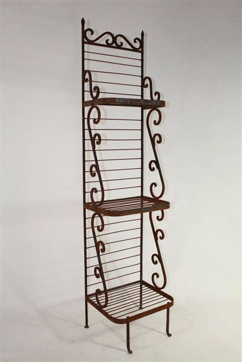 wrought iron heavy forged narrow bakers rack kitchen decor patio plant stand ebay