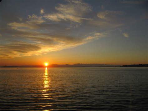 sunrise water seattle puget sunset panorama beach sound washington sun morning laut spots fall malam matahari alki pacific ocean barat