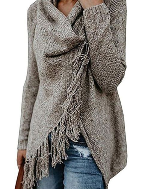 Womens Knitted Long Sleeve Cowl Neck Poncho Ladies Tassel