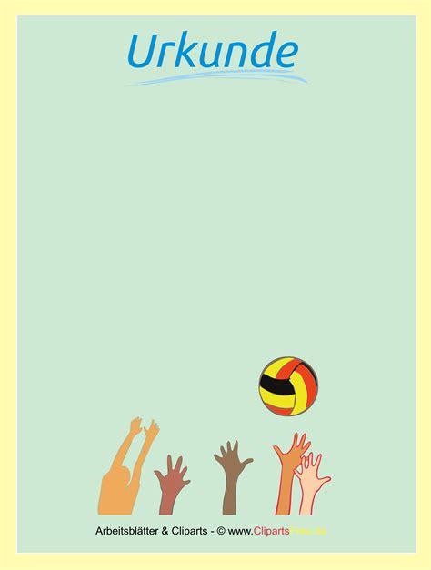 kostenlose urkunden urkunde volleyball