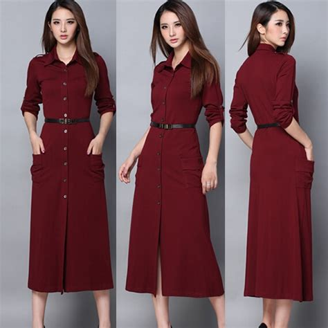 2015 New Winter Long Casual Dress For Women Long Sleeve