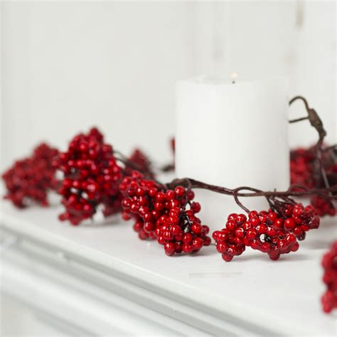 glossy red artificial berry garland garlands floral