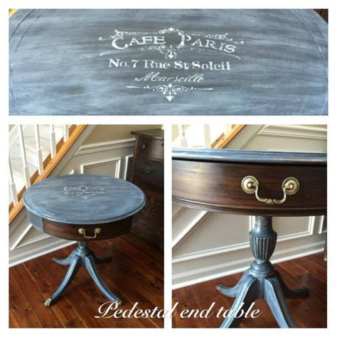 Pedestal End Table in Queenstown Gray Milk Paint and