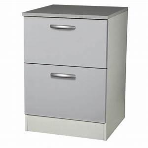 Meuble à Tiroir : meuble de cuisine bas 2 tiroirs casseroliers gris ~ Melissatoandfro.com Idées de Décoration