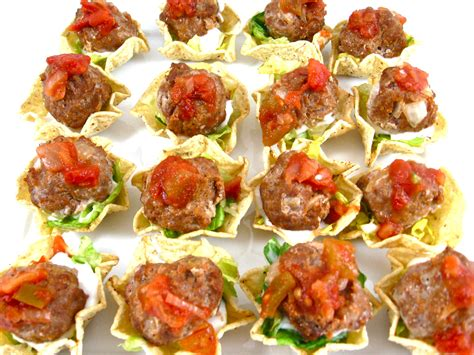 canapes finger food mini meatball tostada appetizers with