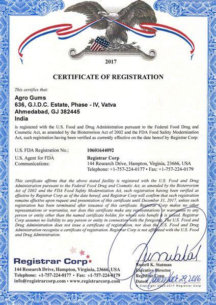 agro gums certificates agro gums