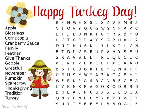 thanksgiving word finds