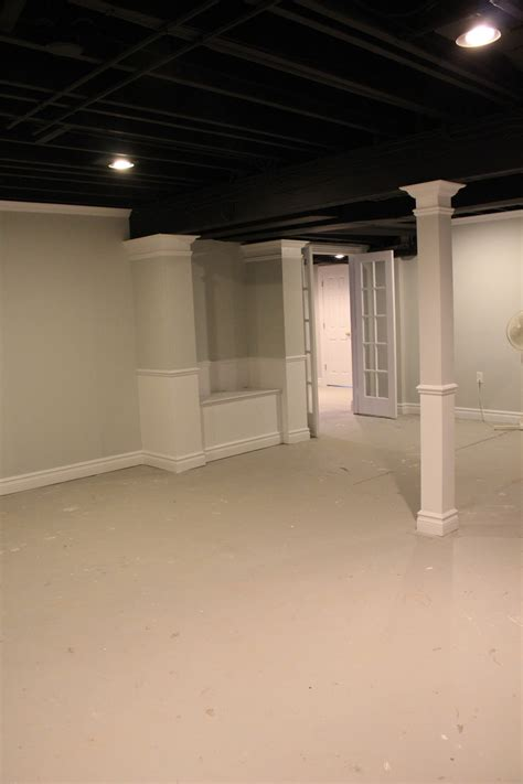 black ceiling paint basement remodel with painted exposed ceiling