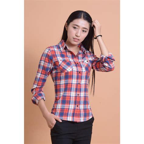 plaid blouse aliexpress com buy plaid tops cotton flannel shirt