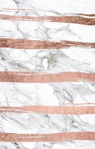 Modern chic faux rose gold brush stripes white marble ...