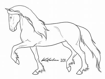 Horse Coloring Pages Friesian Draft Drawing Colouring
