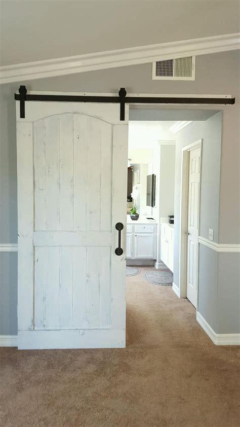distressed white barn door  hardware   master