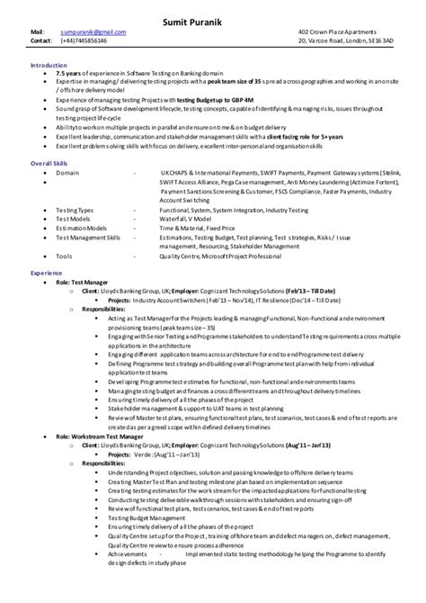 Mit Sle Resume by Test Manager Sle Resume 28 Images Test Manager Cv 2015