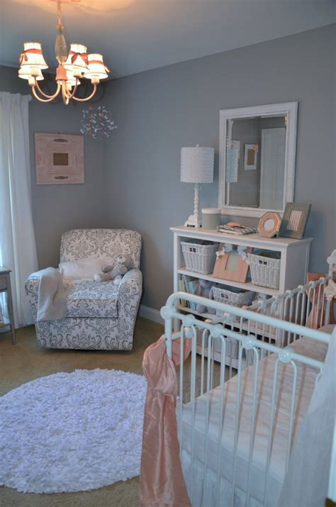 jaycies girly peach gray  white nursery project nursery