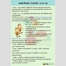 Indefinite Articles A And An  Eslbuzz Learning English