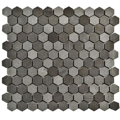 Home Depot Merola Hex Tile by Merola Tile Structure Hex Black 11 In X 11 5 8 In X 8 Mm