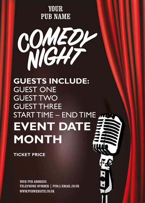 Comedy Template Poster by Comedy Night Event Poster Artwork 163 60 Hall And Woodhouse